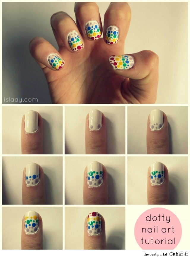 dotty nail art tutorial easy dotting tool cute polish cutepolish rainbow stripes spots easy free blog 640x867 ایده بسیار جالب برای طراحی ناخن