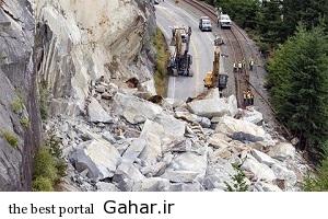 213087 مسدود شدن جاده چالوس بر اثر ریزش سنگ