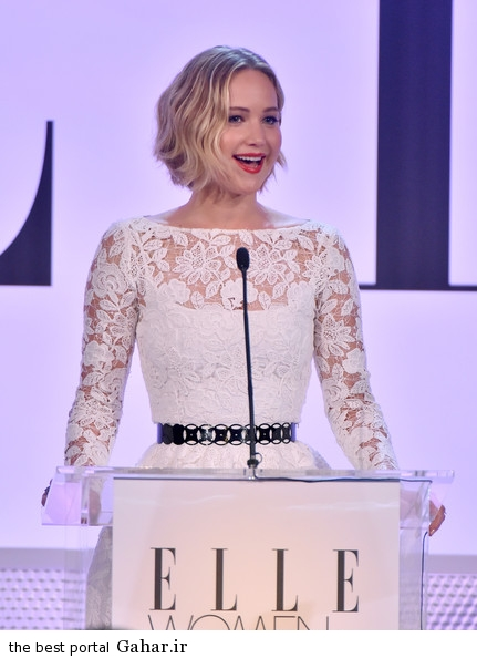 Jennifer Lawrence ELLE 21st Annual Women Hollywood jnayEYzandZl عکس های جدید سخنرانی جنیفر لارنس