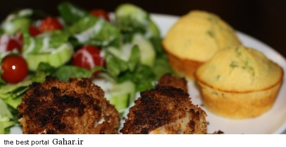 Muffin chicken and scallion دستور تهیه مافین مرغ و پیازچه
