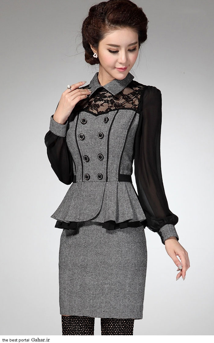 pinafores suit Korean www abartazeha ir 305 مدلهایی جدید از زیباترین مدل کت و دامن و سارافن دخترانه