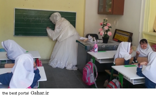 asoos3 عکس هایی از حضور معلم با لباس عروس در کلاس