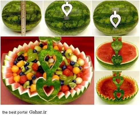 watermelonfruitbasket آموزش تزیین هندوانه به شکل سبد برای شب یلدا 94