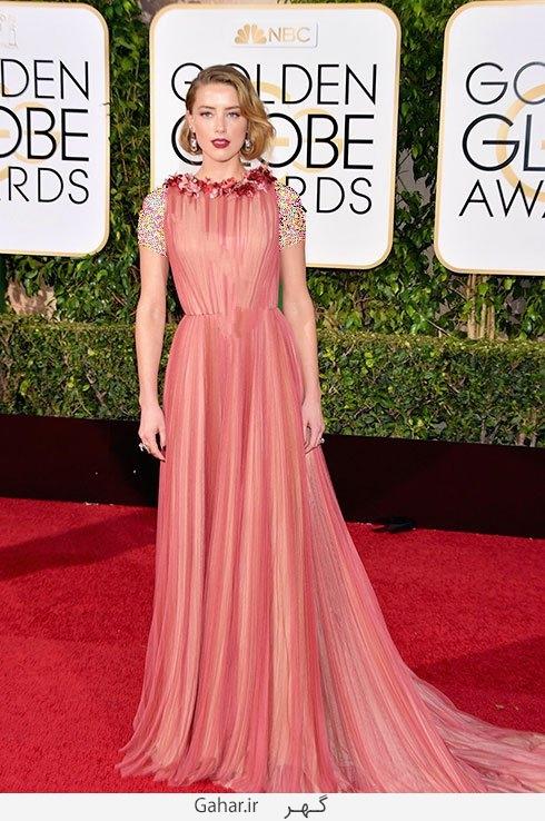 amber heard in gucci مدل لباس بازیگران هالیوودی در مراسم گلدن گلوب 2016