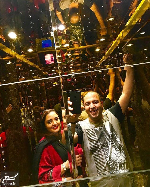 077104 Gahar ir عکس جدید و متفاوت نرگس محمدی و علی اوجی در آسانسور