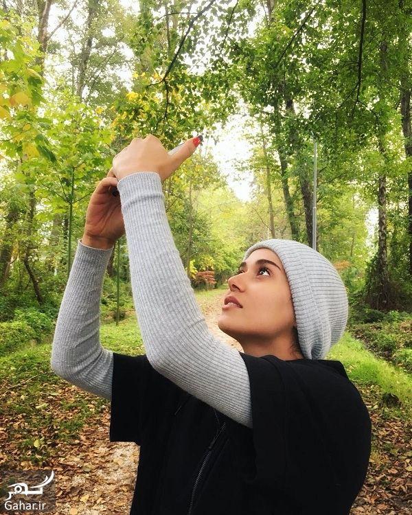 128590 Gahar ir عکس متفاوت خانم بازیگر در جنگل زیبا
