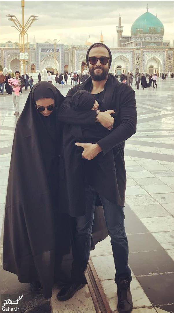 531538 Gahar ir عکس بنیامین و همسر و فرزندش در حرم امام رضا (ع)