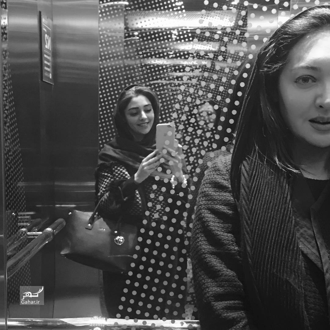 1487667638 عکس های دیده نشده از نیکی کریمی و هستی مهدوی در آسانسور