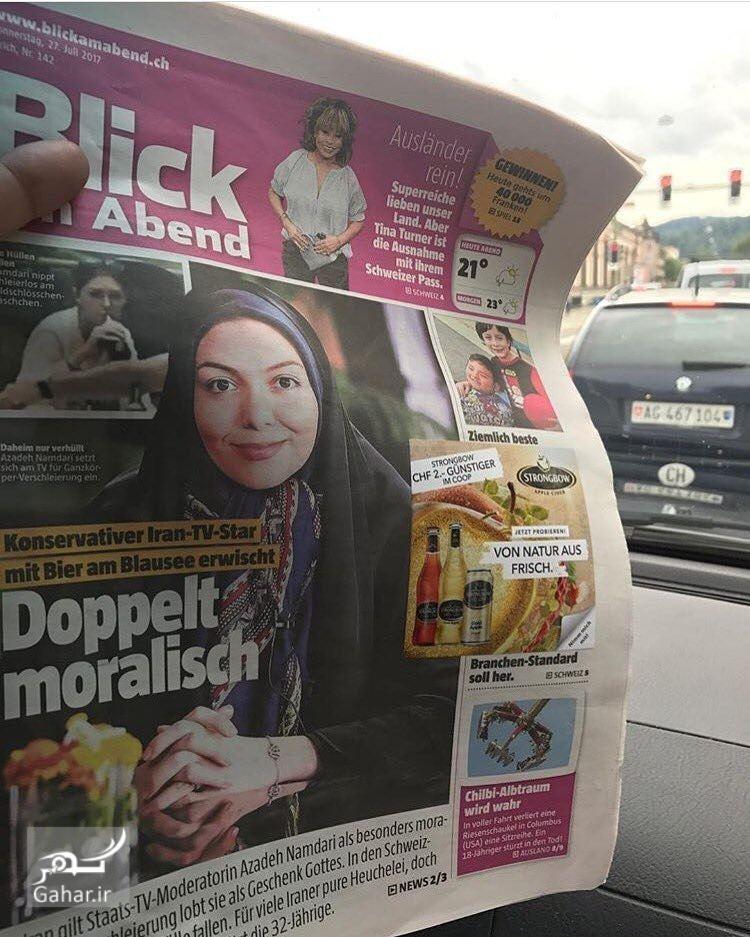 1501261134 عکس/ بازتاب خبر عکس های بی حجاب آزاده نامداری در روزنامه سوئیسی چاپ شد