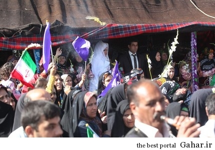 00ytfp6rlnhm8wan0m7 استقبال عروس و داماد از روحانی در لرستان / عکس