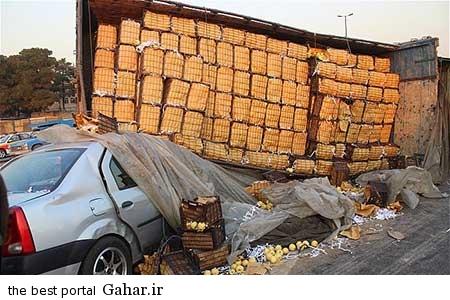 9310 11m3177 خراب شدن کامیون بر روی تندر 90 با بار سیب