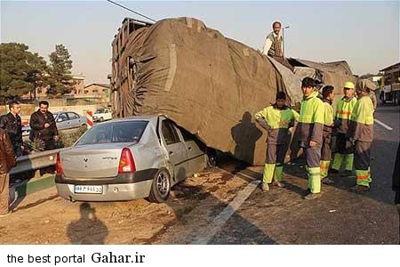 9310 11m3182 خراب شدن کامیون بر روی تندر 90 با بار سیب