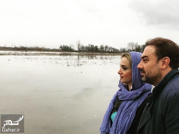 عکس هنری آقای بازیگر و همسرش کنار دریاچه, جدید 1400 -گهر