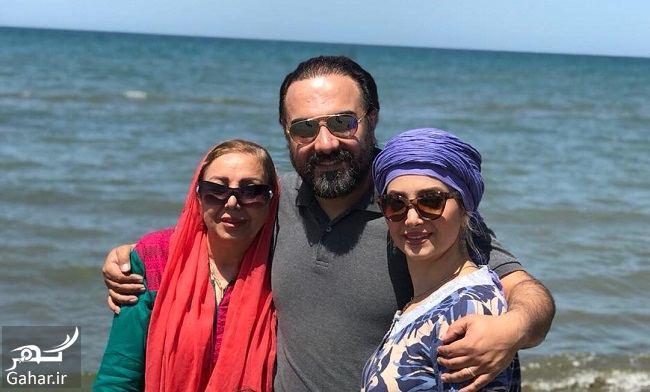248727 Gahar ir عکس ساحلی آقای بازیگر و همسر و مادرش