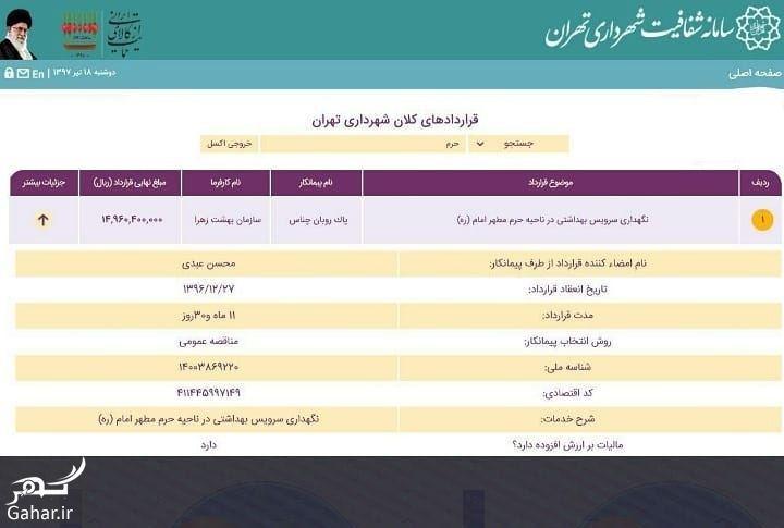 قرارداد ۱۵ میلیاردی برای نظافت سرویس بهداشتی حرم امام خمینی, جدید 1400 -گهر