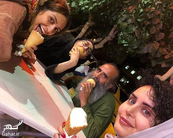 عکس جدید الناز شاکردوست و دوستانش مشغول بستنی خوردن, جدید 1400 -گهر