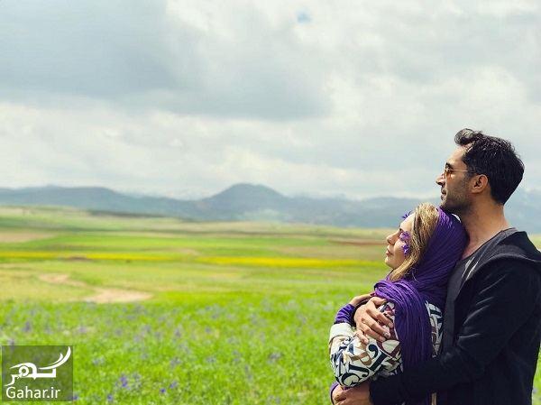 عکس عاشقانه هادی کاظمی و سمانه پاکدل در طبیعت, جدید 1400 -گهر