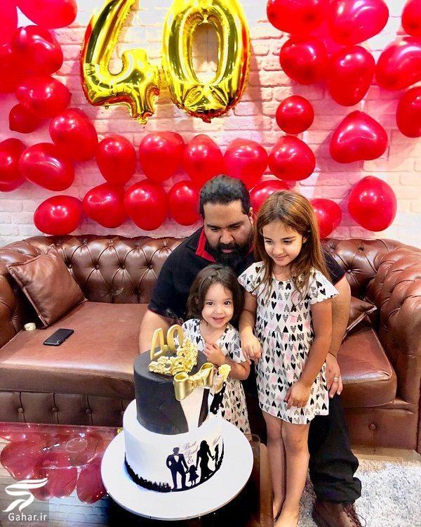 عکس جشن تولد ۴۰ سالگی رضا صادقی در کنار فرزندانش, جدید 1400 -گهر
