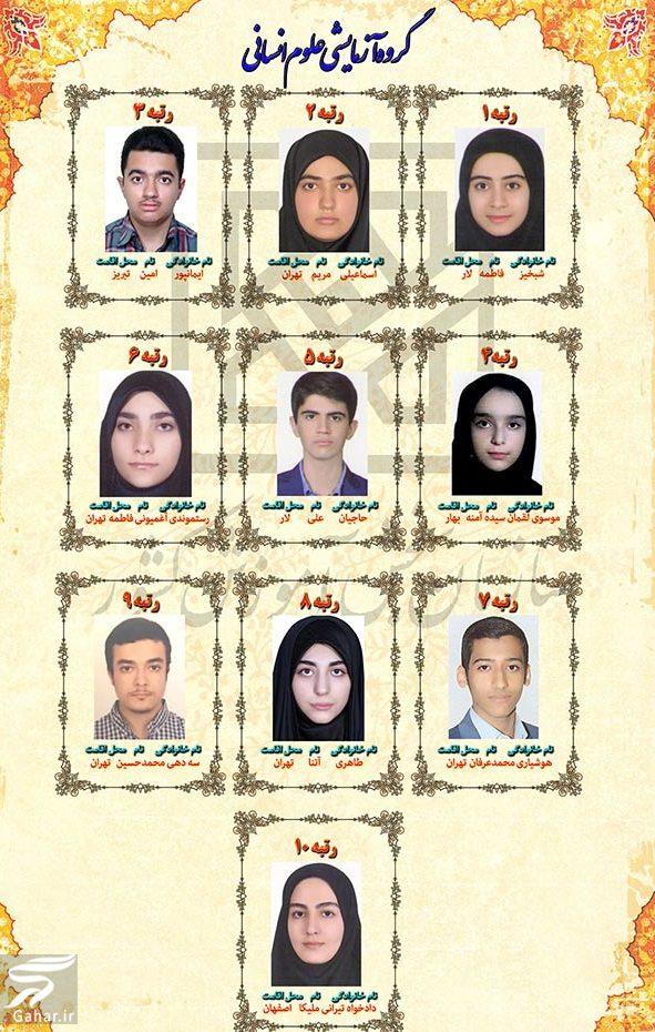 عکس و اسامی نفرات برتر کنکور ۹۸ سراسری, جدید 1400 -گهر