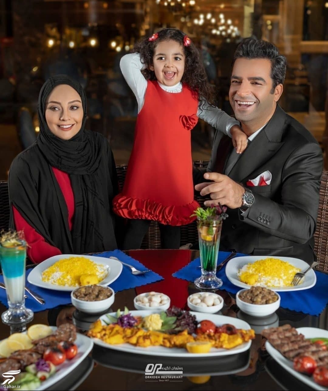 848764 Gahar ir عکسی از شام لاکچری منوچهر هادی و همسرش و دخترش