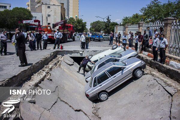 468231 Gahar ir نشست زمین در تبریز خودروها را فرو برد / تصاویر