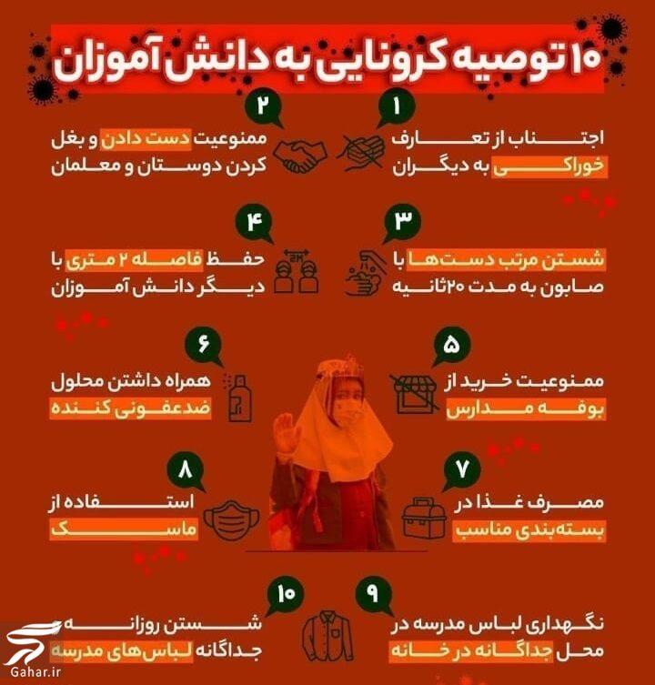 676071 Gahar ir توصیه های بهداشتی برای پیشگیری از کرونا در مدارس